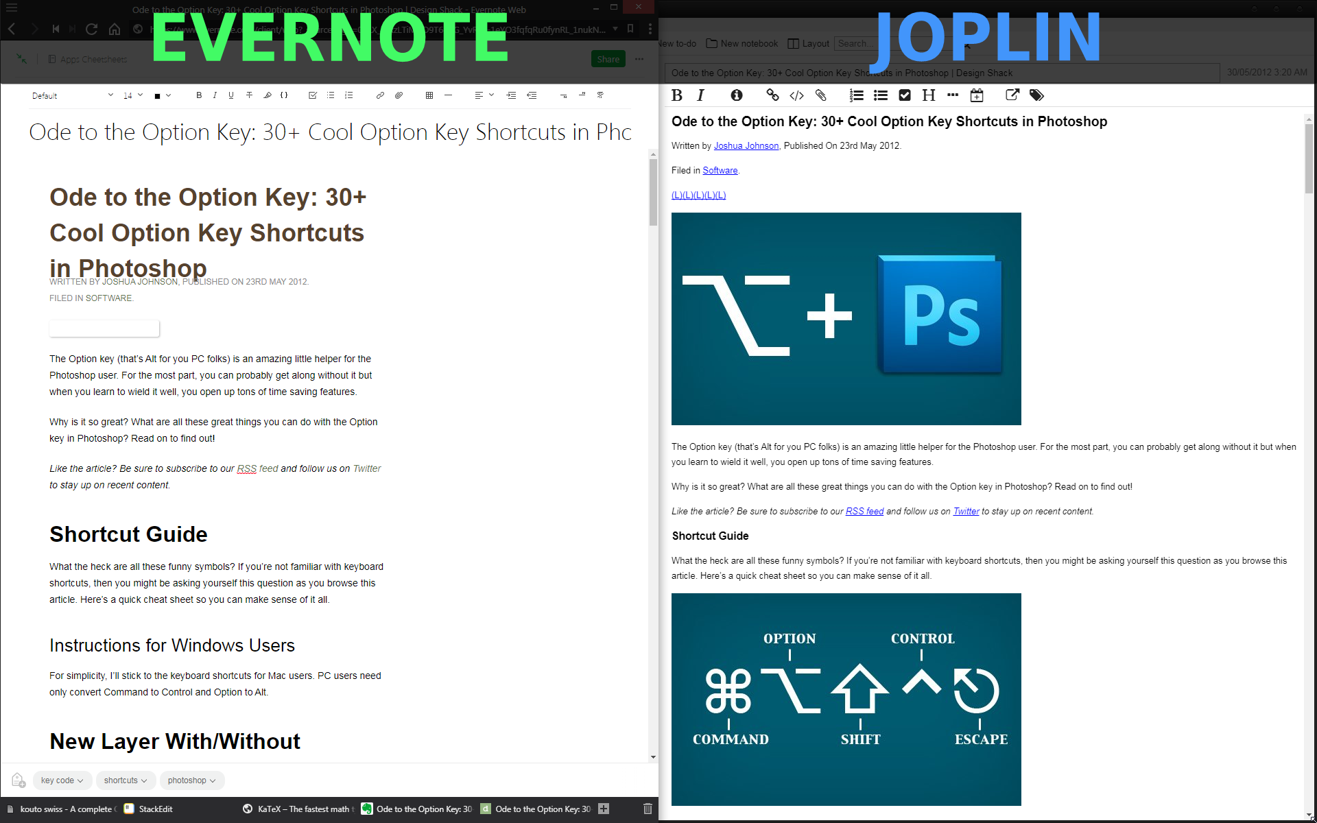 Simple comparison Evernote vs. Joplin. The same full-site copy created with Evernote's Web Clipper then imported to Joplin. Evernote can't even show it correct in its viewer.