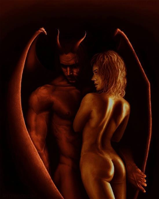 Erotic male demons with wings