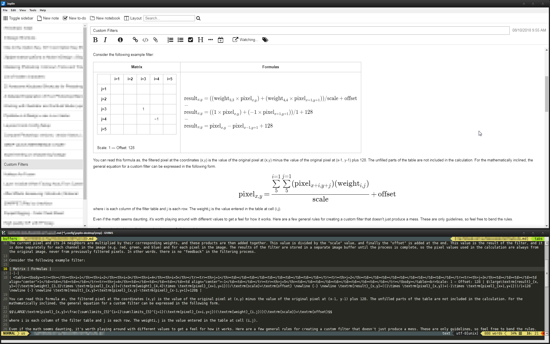 Inline HTML table inside Markdown table, KaTeX math notations and live-editing with Gvim